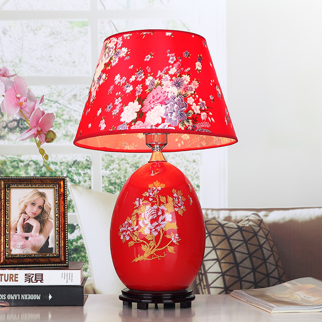 Red Chinese Porcelain Table Lamps Fabric Lampshade Wood Base Room Living Lighting Ceramic Desk