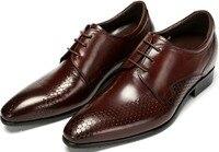 Mens Hidden Heel Shoes 2014 Black Brown Tan Serpentine Brand Genuine Leather Men Dress Shoes Wedding