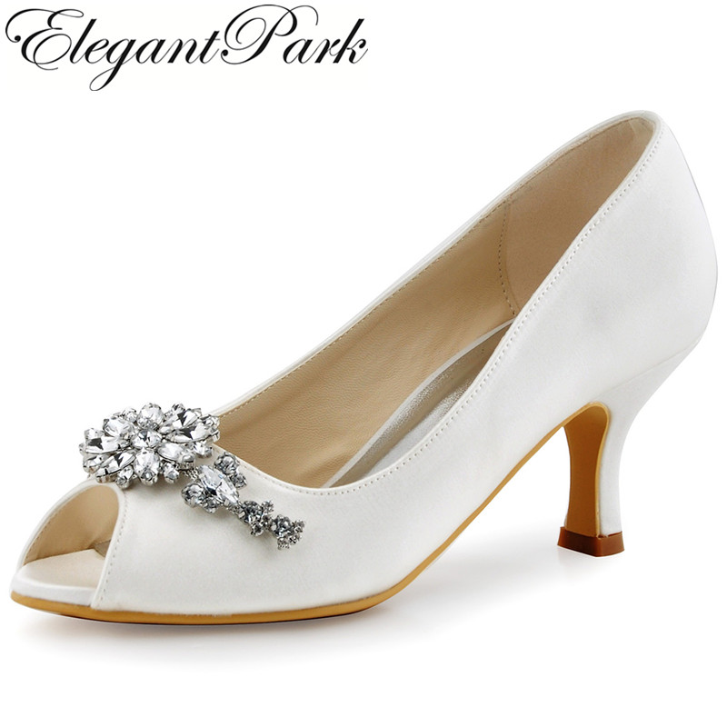 HP1541 White ivory women wedding shoes Peep Toe Med Heel Crystal Satin lady Bride Bridesmaids Prom Party Evening Bridal Pumps