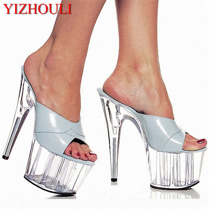 Ultrafine Platform High-Heeled Shoes 15cm High Heel Crystal Princess Shoes Sexy Slippers Wedding Shoes 6 Inch Sexy Party Heels professional customize 15cm ultra high heels sandals platform bride 6 inch wedding shoe women s slippers sexy lips crystal shoes