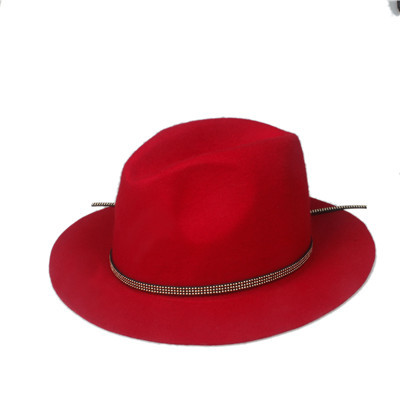 Мода шерстяная летняя зимняя женская мужская фетровая шляпа крушаемая натуральная фетровая Солнцезащитная шапка Трилби Gorra Toca Sombrero Панама шляпа - Цвет: Red