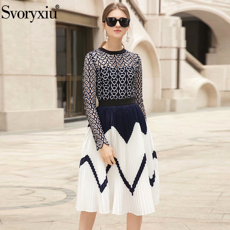 Svoryxiu Designer Brand Spring Summer Pleated Dress Women's Elegant Hollow Out Embroidery Sexy Party Dresses Vestdios