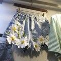 Bordados shorts jeans florais quentes das mulheres shorts jeans mulheres sexy shorts de fitness workout streetwear plus size XL-5XL T677