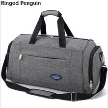 Ringed Penguin Мужская дорожная сумка Weekend Сумка для багажа Сумка для багажа багажа для багажа в ночное время Водонепроницаемая серая