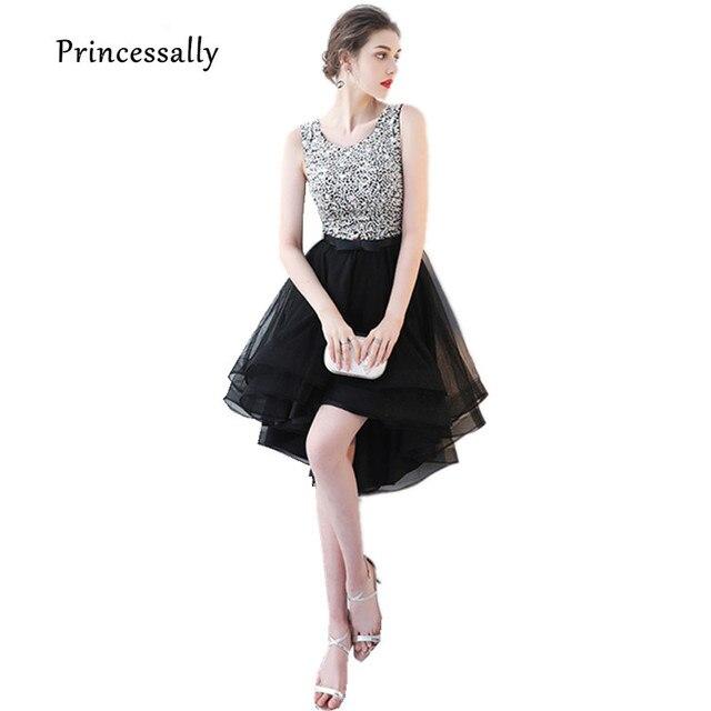 88d70ff7b6f Новый Balck блестками вечернее платье короткое спереди и длинное сзади  ручной работы Бисер без рукавов Асимметричный