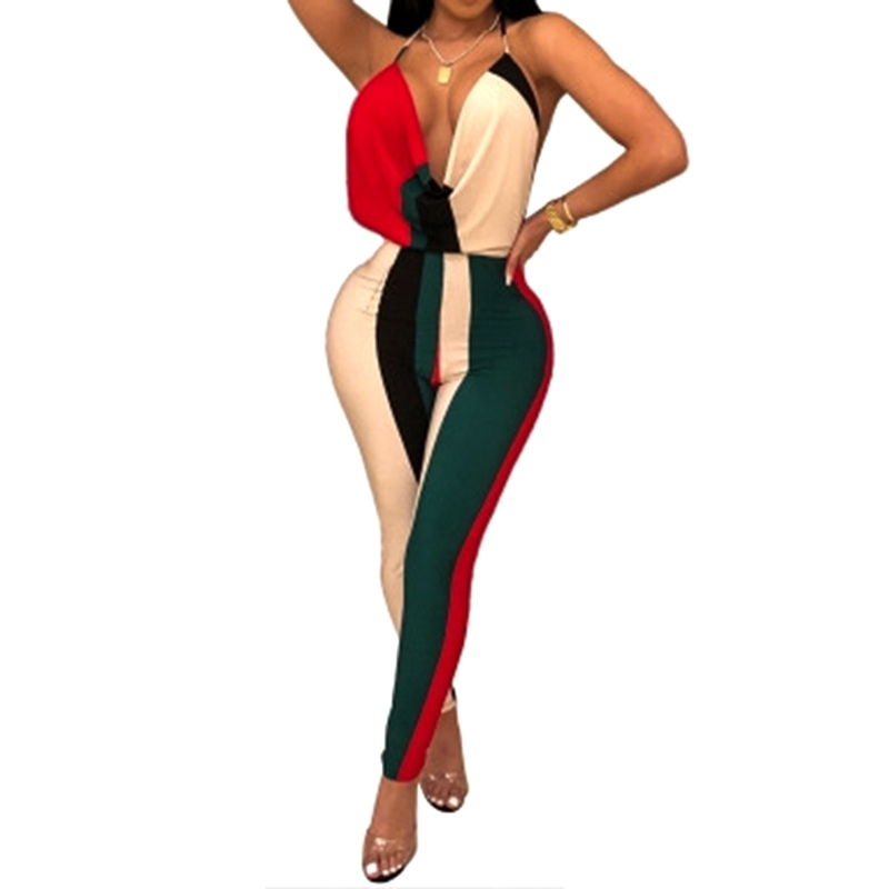 Slim Long Pants Women Jumpsuit Strap Woman Bodysuit 2018 Hot Popular Skinny Full Length Body Mujer Print Color Block Rompers