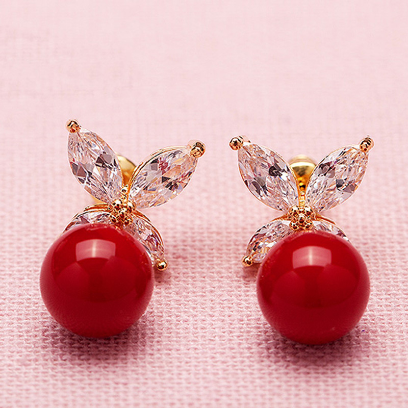 New Romantic Jewelry Stud Earrings For Wedding Elegant Gold Color Clear AAA Cubic Zirconia Stone Earring for Women Grils Gift