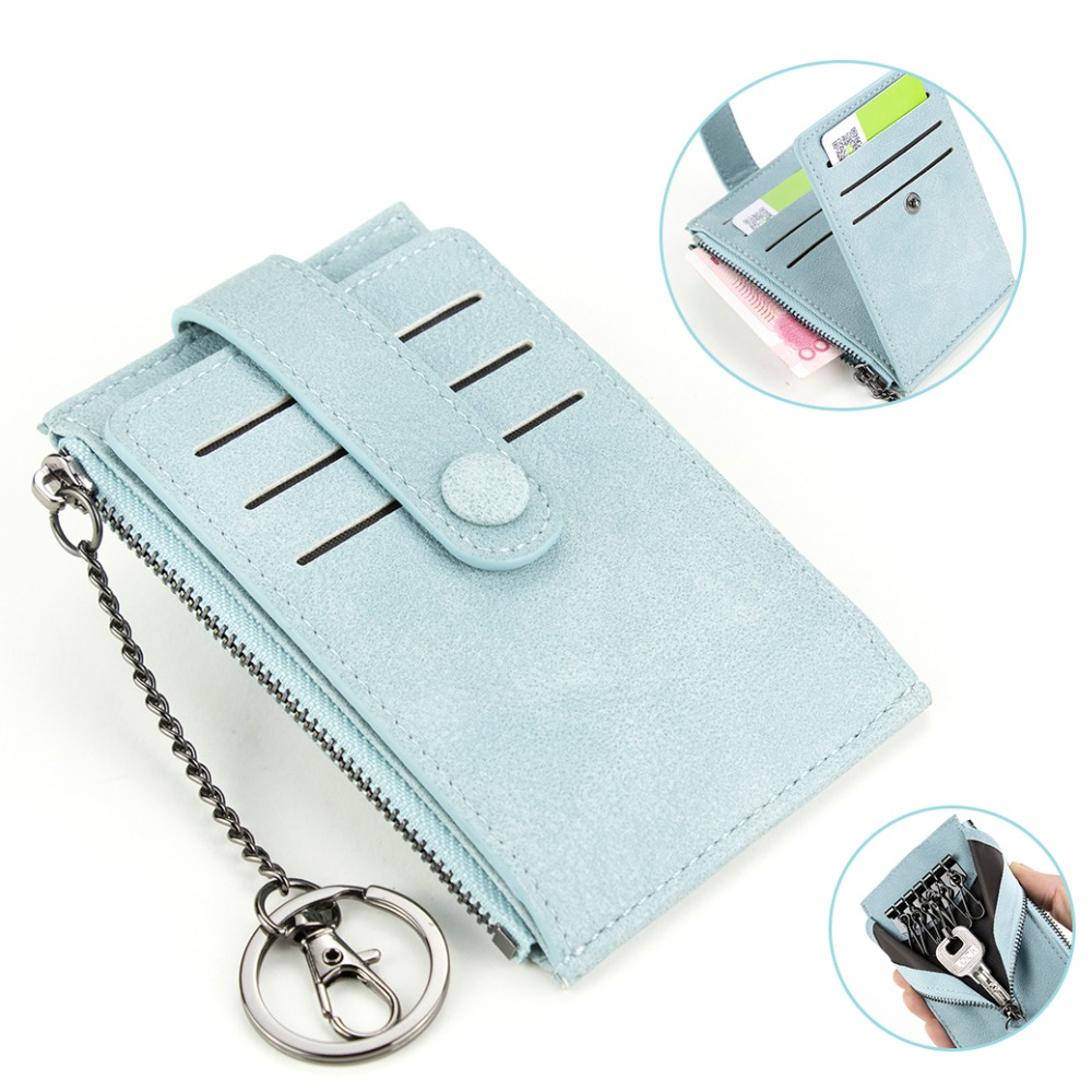 High Quality Key Wallet Women Card Holder Chain Zipper Purse Blue Hasp Key Bag Multi Function Key Holder Zipper Key Case
