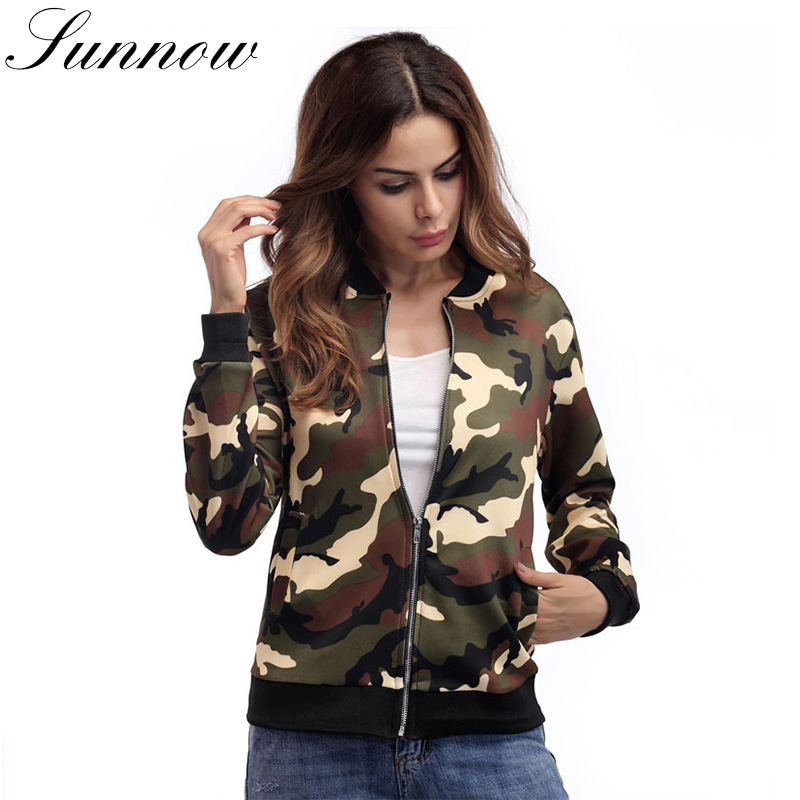 SUNNOW Fashion Autumn Women   Jacket   Camouflage Bomber   Basic     Jackets   Coats Female Army Green Streetwear Long Sleeve Outerwear