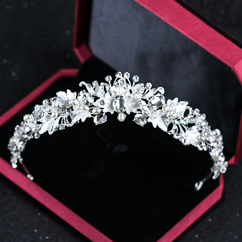 Rhinestone Pearl Flower Bridal Crowns Handmade Silver Tiara Headband Crystal Diadem Crown Wedding Hair Accessories women crystal baroque flower headband handmade floral crown hairband party wedding wreath bridal headdress hair accessories