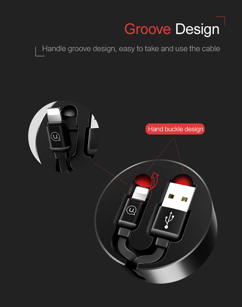 USAMS Lighting Cable Micro USB Type-C Cable Retractable Fast Charging Data Cable for iPhone Samsung Oneplus USB C Wire