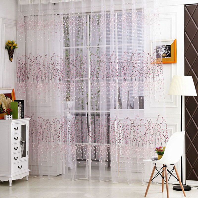 m x m de tul estampado floral cortinas de voile ventana panel pura cortinas para