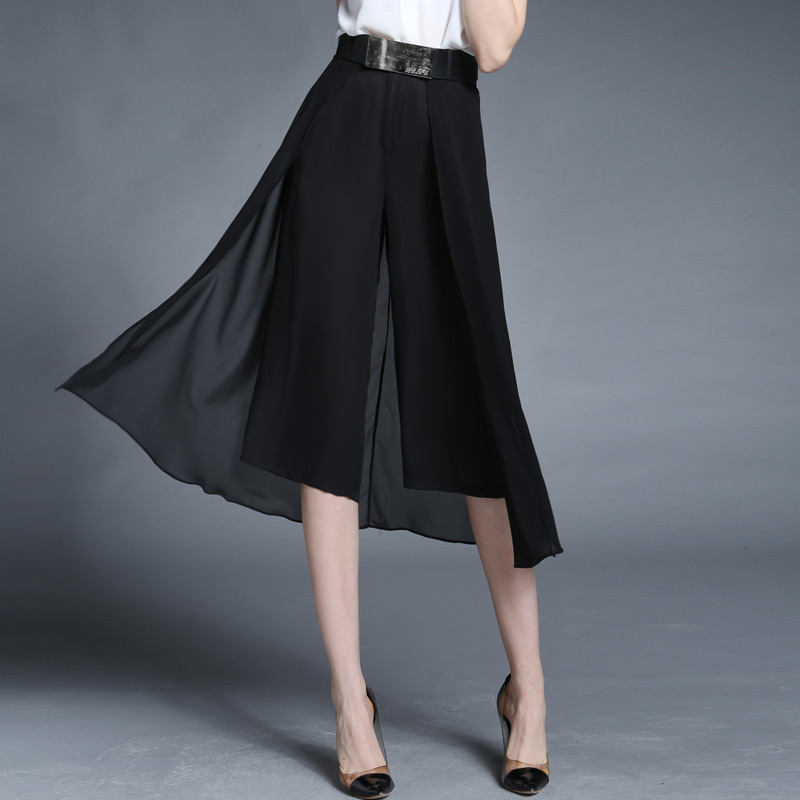 Wide Leg Pants Women Black Chiffon Calf-length Pants Plus Size Solid Mid Waist Ethereal Botton 2017 New Fashion Style