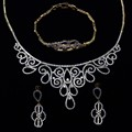 Wedding Jewelry Sets For Women Gold plated with Cubic zircon 3pcs sets ( necklace + bracelet + earrings ) free shipment