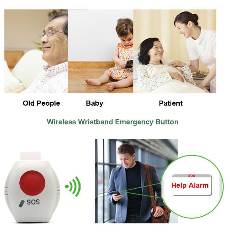 Botón de emergencia inalámbrico 433 mhz impermeable SOS Panic Button pulsera para la seguridad del hogar GSM sistema de alarma Elder chico seguridad