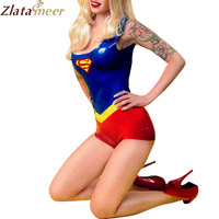 100% Natural Rubber Superwoman Catsuit Women Latex Leotard Hollyhood Uniforms LU036