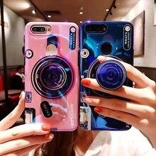For Huawei Enjoy 8 Fashion Retro Camera Phone Case Soft TPU Silicone Cute Stand Holder Back Cover