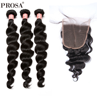 3Pcs Loose Wave Human Hair Bundles With Closure 4Pcs Brazilian Hair Weave Bundles With Closure 5x5 Free Part Prosa Remy