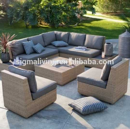 New design comfortable garden furniture large couch wicker sofa set for sale
