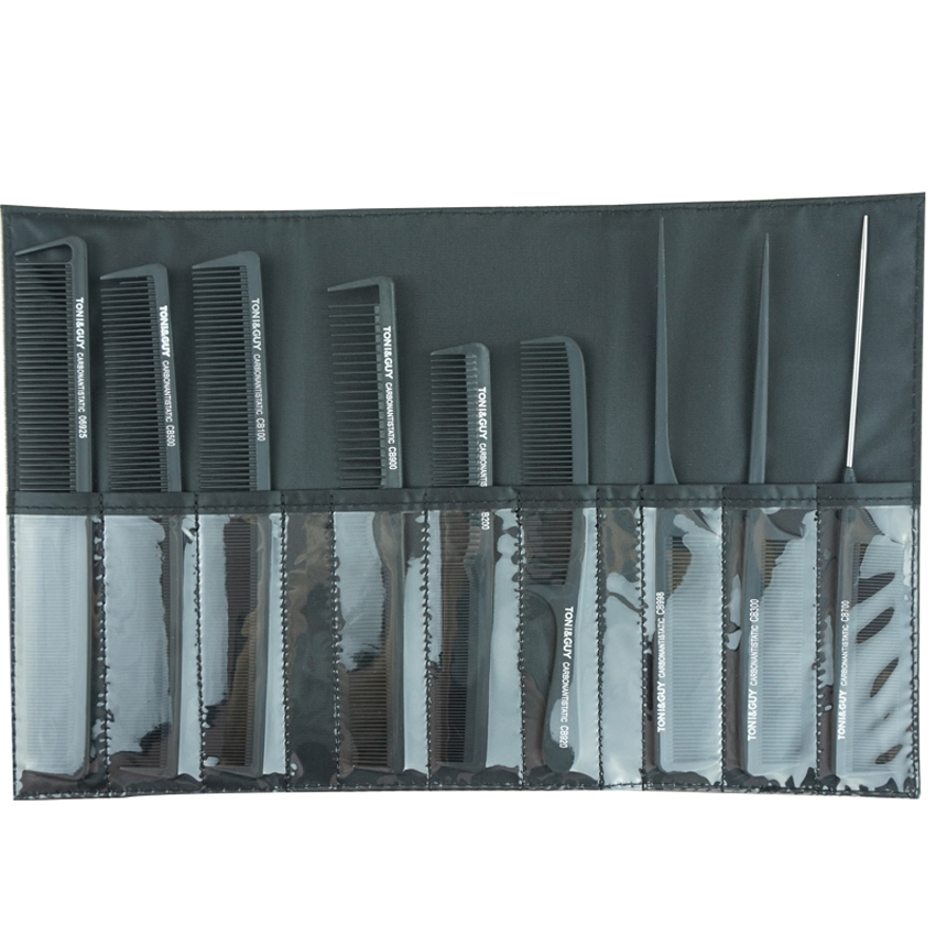 Pro 9 piece Set Hairdressing Comb Untuk hairstylist Carbon Antistatic Cutting Hair Comn In 9 Designs With Bag Heat Resistant Comb