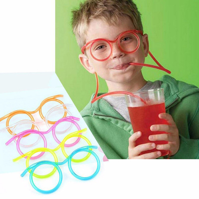 Fun souple en plastique paille lunettes drôles Flexible jouets à boire partie blague Tube outils enfants bébé fête danniversaire jouets