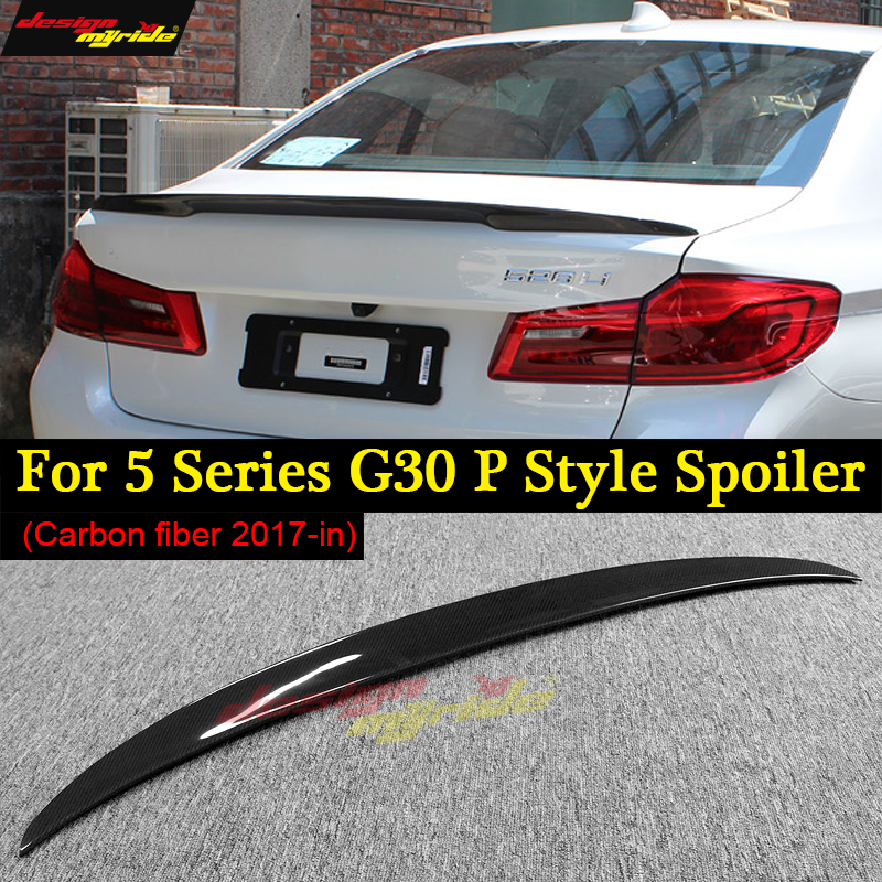 For BMW G30 tail Carbon Spoiler P Style 5 Series G30 530i 540i M Performance Carbon Fiber Rear Spoiler Rear Trunk Wing 2017-2018
