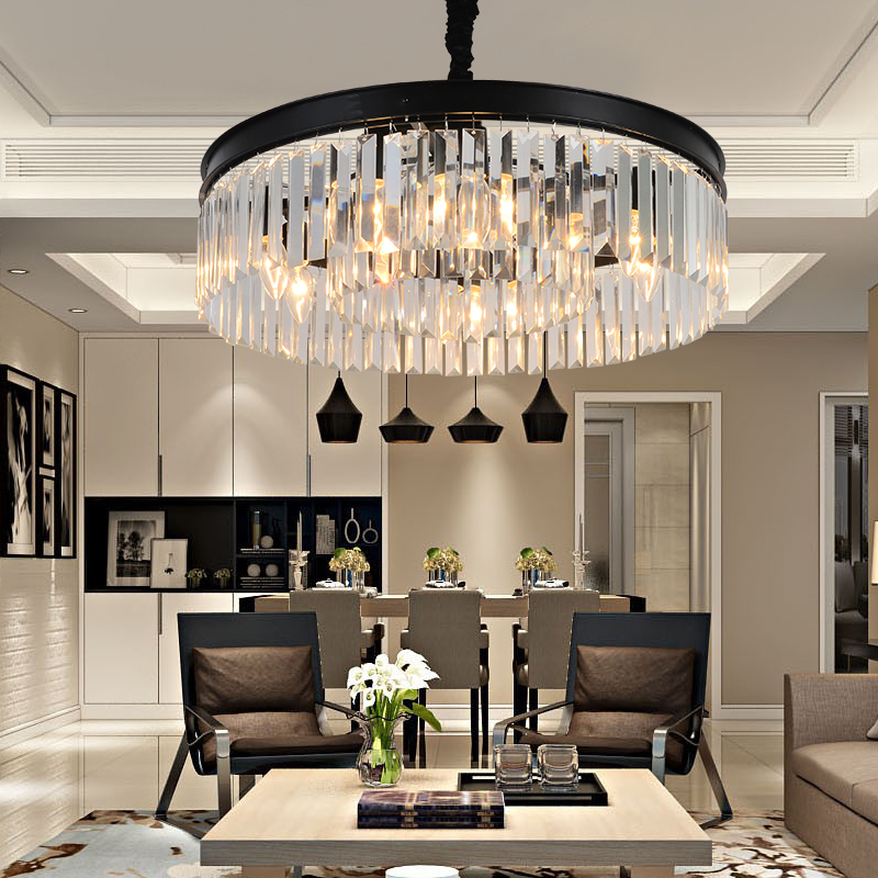 American Iron Chandelier Living Room Restaurant Bedroom Light Black Retro Crystal Light Modern Simple Hanging Lamps led crystal candle lamps modern crystal chandelier living room hanging lighting bedroom ceiling restaurant led chandeliers