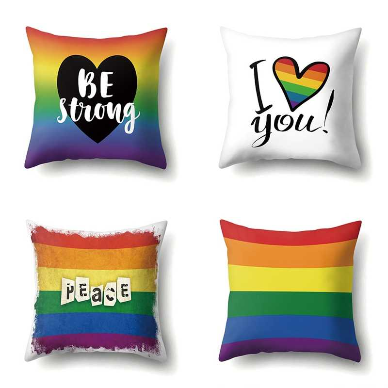 Pride Rainbow หมอน Peace & Be Strong โยน Cushion Cover โซฟาตกแต่ง
