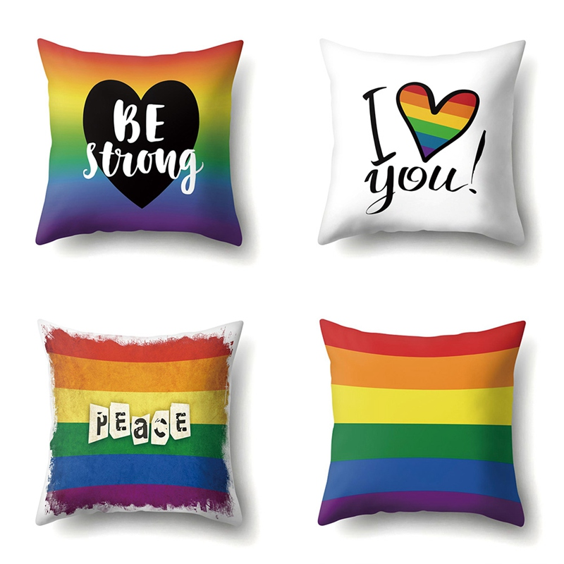 Pride Rainbow Pillow Case Peace & Be Strong Throw Cushion Cover Sofa Decoration