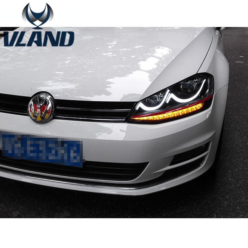 Free Shipping Vland Factory Car Accessories for VW GOLF7 LED Headlight 2013 2014 2015 2016 Xenon Projector Plug and Play Design free shipping for vland car head lamp for great wall h6 2011 2013 led headlight hid bi xenon headlamp with led drl plug and play