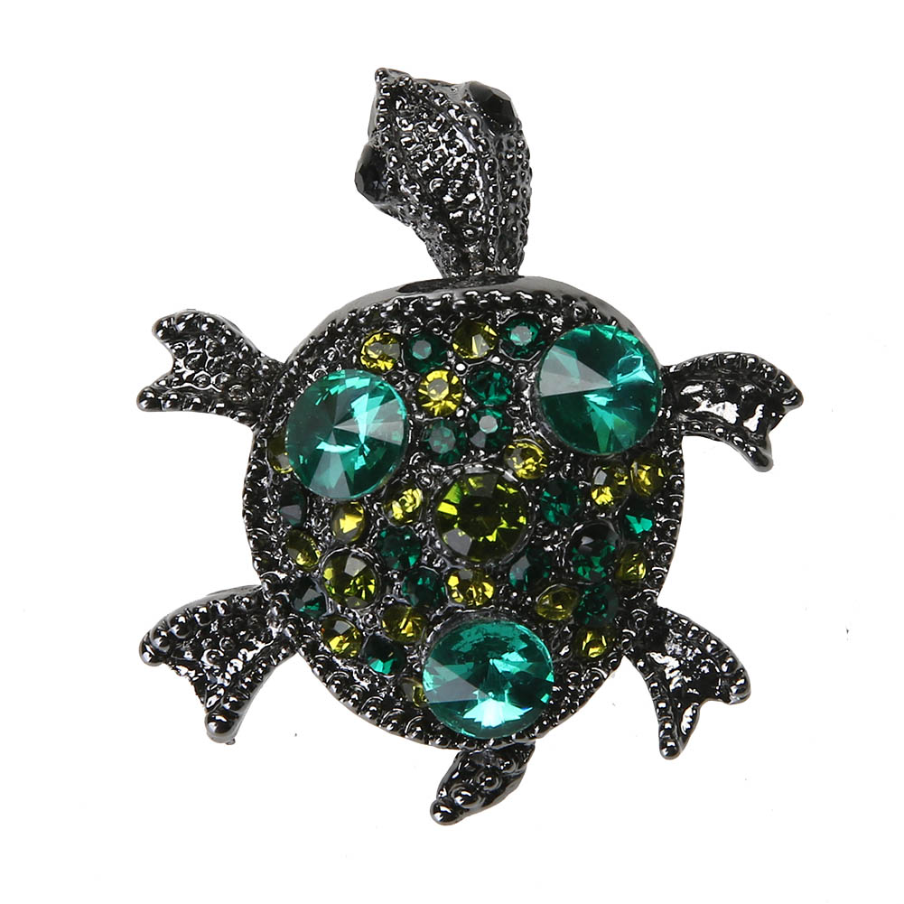 Retro Boho Natural Green Stone Turtle Brooch Pins Women ...
