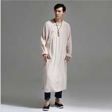 The cotton gown of retro male color long casual overcoat a linen suit Chinese Hanfu Kungfu clothes