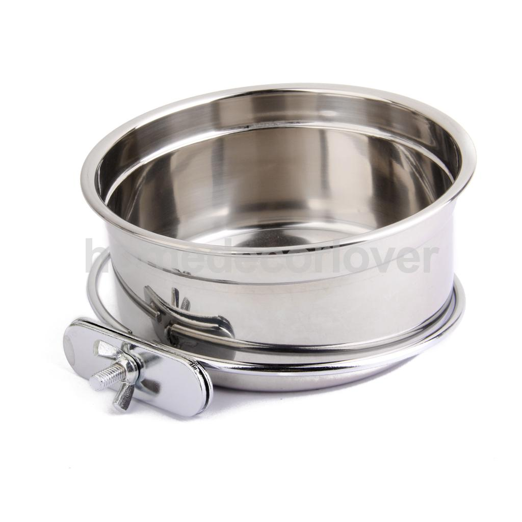 STAINLESS STEEL Cage Coop Cup Bird Cat Dog Puppy Crate Food Water Bowl M