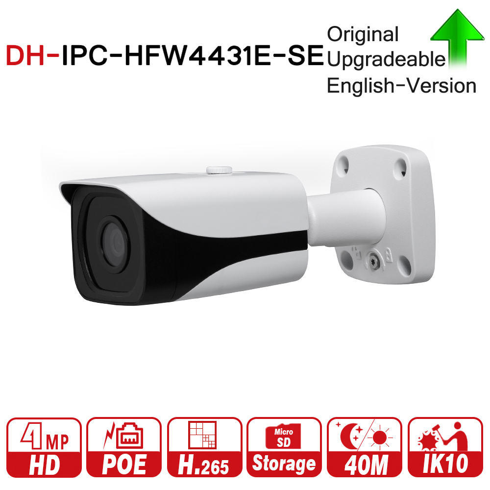 DH IPC-HFW4431E-SE 4MP WDR IR Mini Bullet Network IP Camera 4K Smart Detect 40m IR Support Micro SD Card H.265 WDR IP67 PoE original ipc hdbw4431f as 4mp ir mini dome network ip camera ir20m support micro sd card smart detection h 265 wdr ip67 ik10 poe