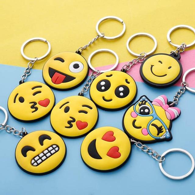 Cute Key Cover Emoji Smile Stool Amusing Cartoon Keychain Jewelry Head Yellow Face Silicone Key Chain Ring Holder porte clef
