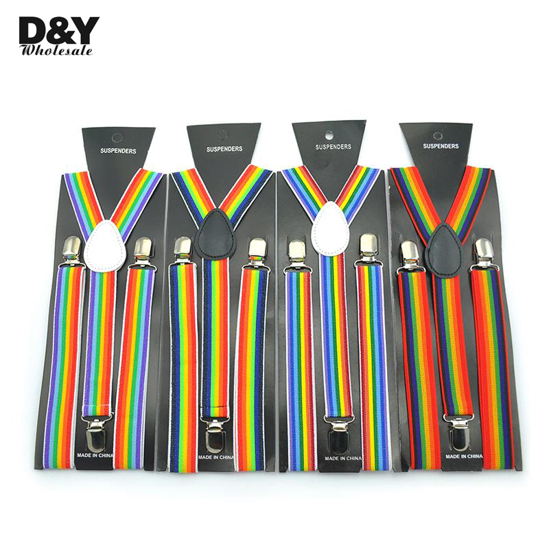 Women Men'S Shirt Suspenders For Trousers Pants Holder Stripe Clip-on Braces Elastic Sling Rainbow Mix Y-back Party Gallus Gift
