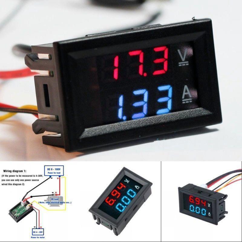 US $3.82 15% OFF|DC 0 100V,0 10A Car Voltmeter Ammeter tester Panel on