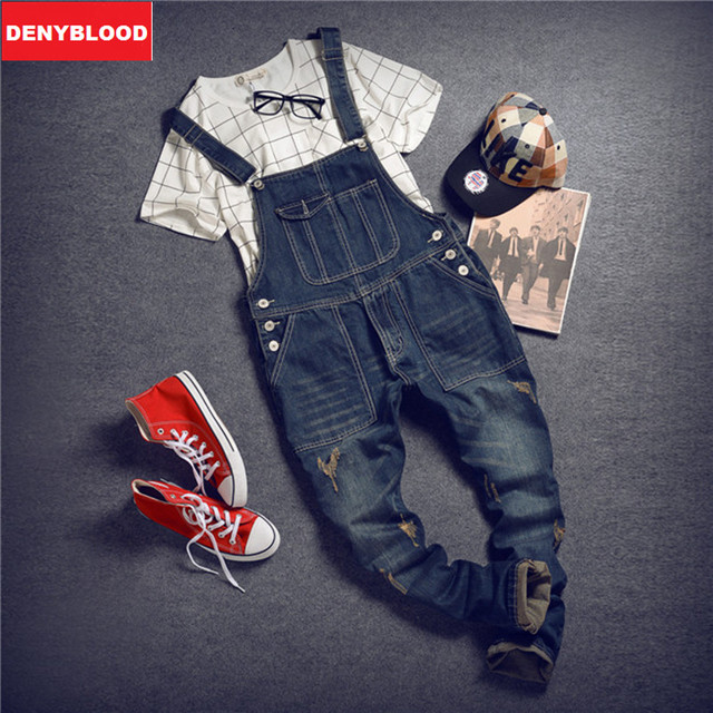Mens Distressed Jeans Ripped Jumpsuit  Denim Overalls Men Baggy Cargo Pants with Suspenders Denim Bib Overalls for Men 259