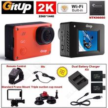 Gitup Git2 Pro 2K 1080P WIFI Sports Action Camera+Wrist Remote Control+Microphone+Charger Battery Kits