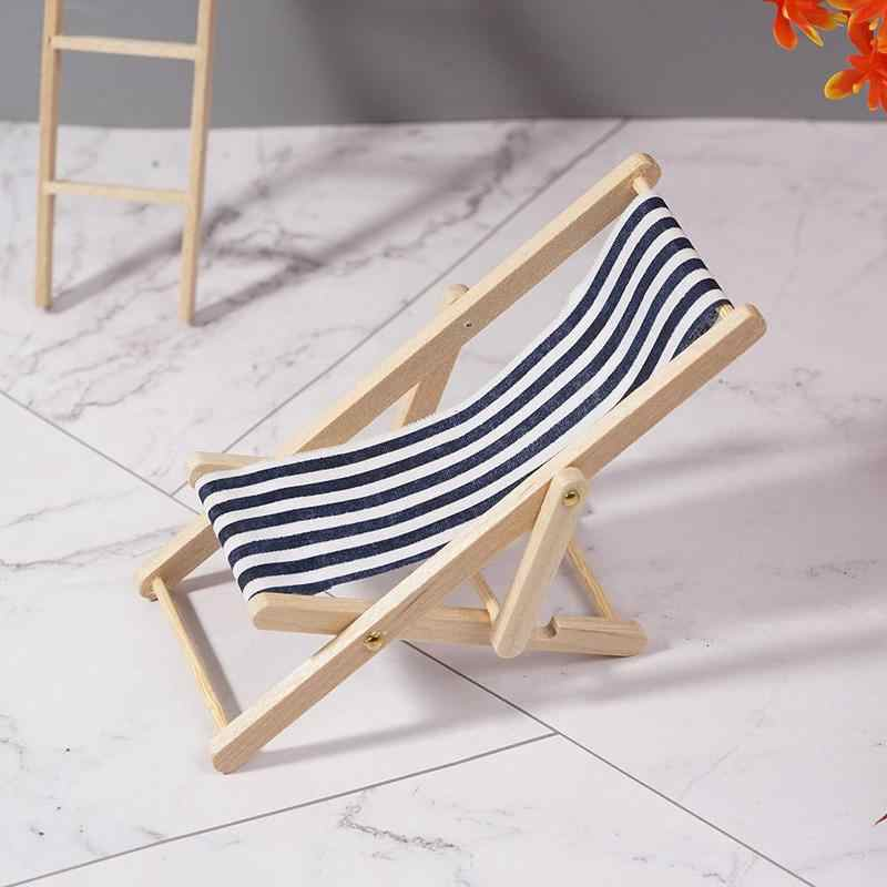 1:12 Dollhouse Folding Mini Beach Lounge Chair Dollhouse Miniature Chairs Garden Furniture Stripe Deck Chair Diy Decor