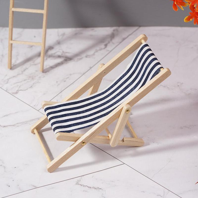 1:12 Dollhouse Folding Mini Beach Lounge Chair Dollhouse Miniature Chairs Garden Furniture Stripe Deck Chair Diy Decor