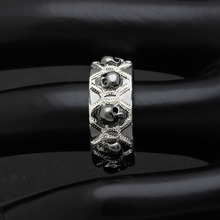 Men's Stylish Silver Ring with Skull Themed Pattern