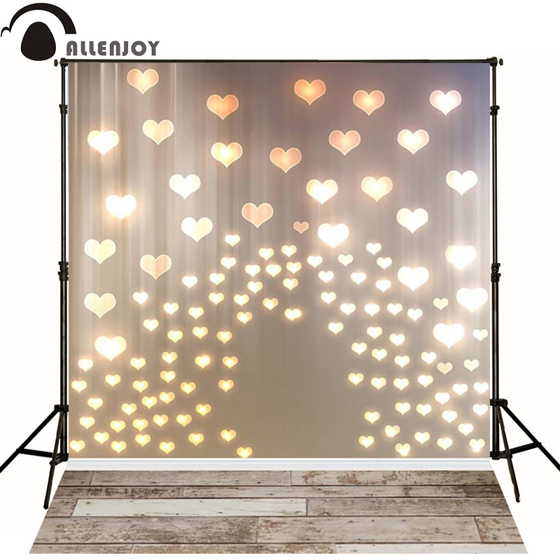 Allenjoy foto latar belakang hati emas cinta lampu kayu Lembaga untuk latar belakang yang baru lahir untuk photocall perkahwinan photocall vinyl