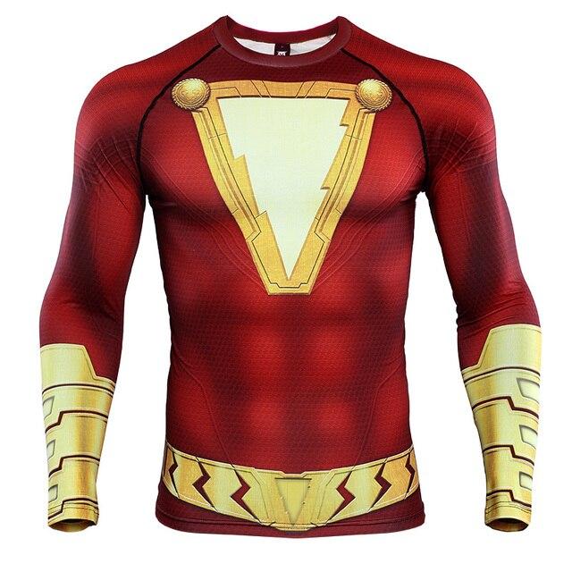 Shazam 3D מודפס T חולצות גברים דחיסת חולצות קרוע שרוול 2019 תבנית חדש קומיקס חולצות זכר קומיקס קוספליי תלבושות בד