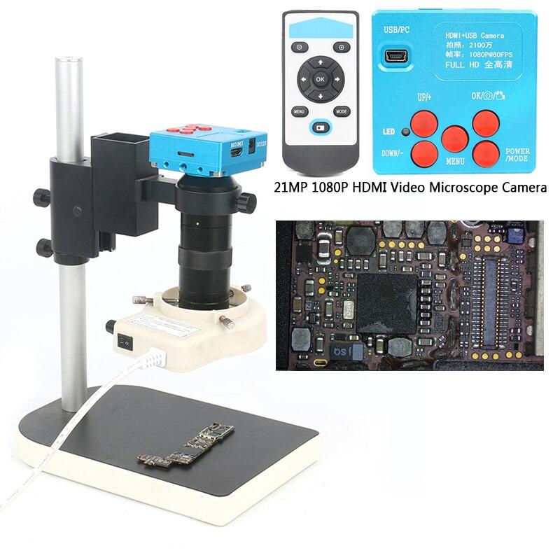 21MP/30MP 1080P 60FPS 2K TF видео рекордер HDMI промышленный видео микроскоп камера 130X C Mount объектив для лаборатории PCB припоя