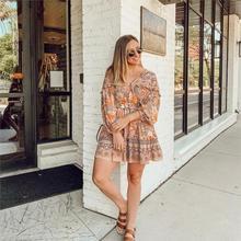 Ruffle Boho V-Neck Long Sleeve dress