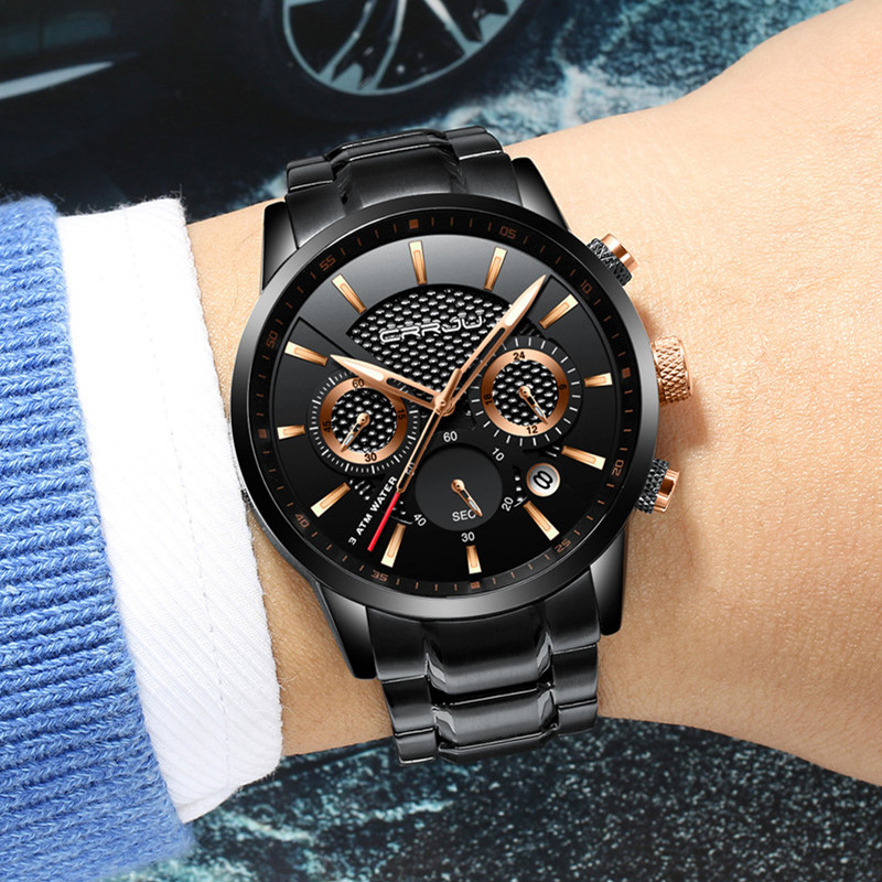 CRRJU Mens Black stainless steel band Luxury Quartz Clock Male Casual Business Calendar Waterproof WristWatch Relogio Masculino