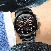 CRRJU Mens Black Stainless Steel Band Luxury Quartz Clock Male Casual Business Calendar Waterproof WristWatch Relogio
