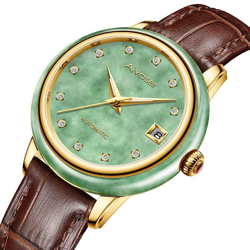 Luxury Real Jade Men s Wrist Watches Stainless Steel Automatic Mechanical Watch 30M Waterproof Calendar Men