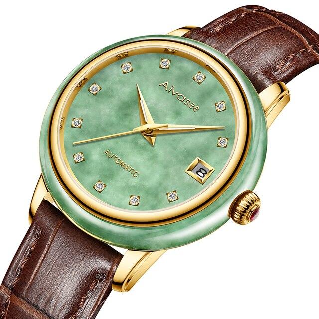 Luxury Real Jade männer Handgelenk Uhren Edelstahl Automatische Mechanische Uhr 30M Wasserdichte Kalender Männer Uhr uhren hombre
